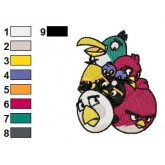 Angry Birds Group Embroidery Design