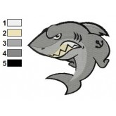 Angry Cartoon Shark Embroidery Design