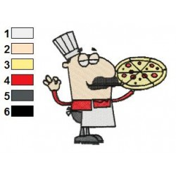 Cartoon Chef Holding Pizza Embroidery Design