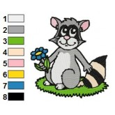 Happy Raccoon Holding Flower Embroidery Design