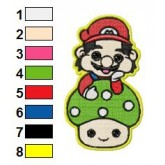 Mario with Mashroom Embroidery Design