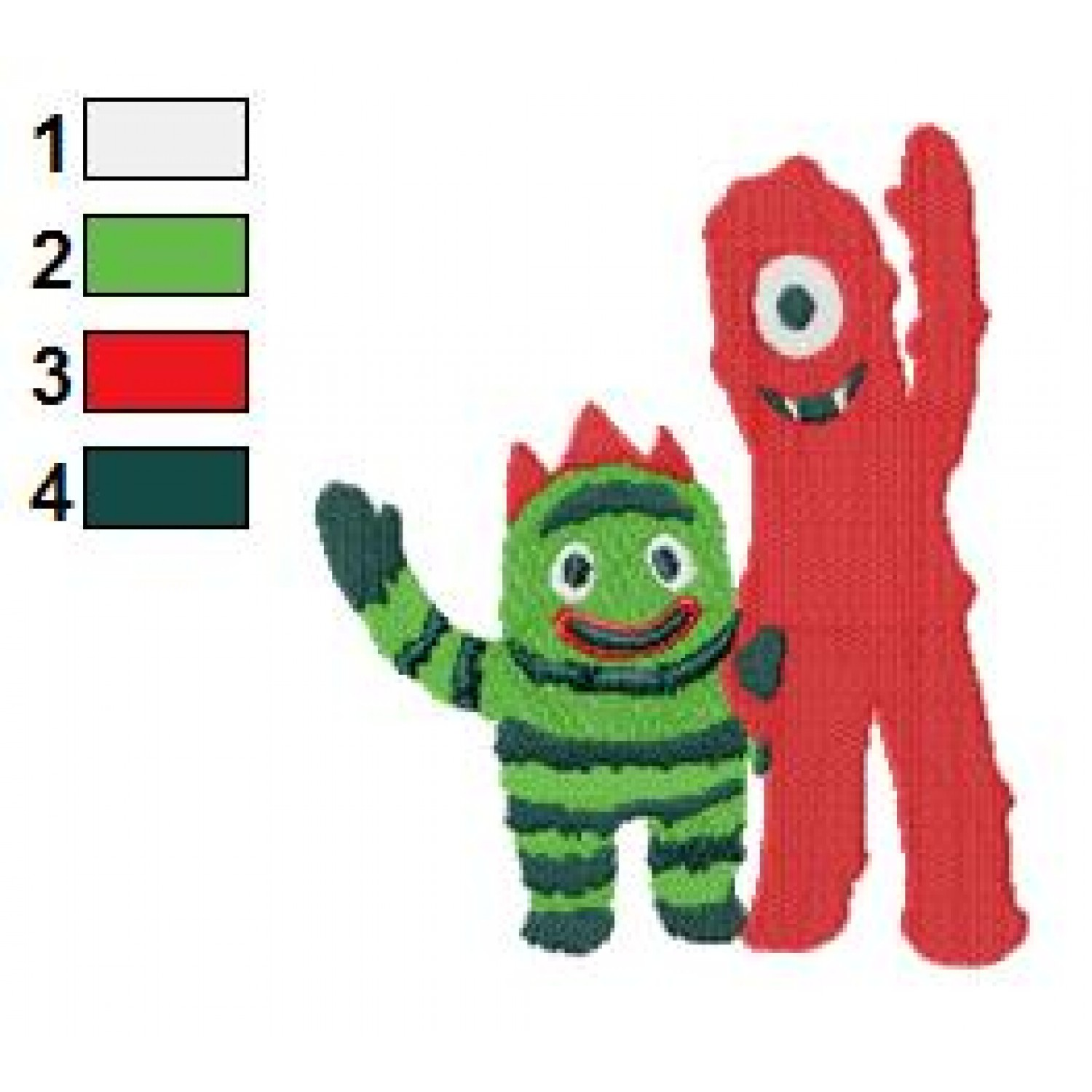 Muno and Brobee Yo Gabba Gabba Embroidery Design