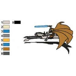 Obi Swoop Wars Embroidery Design