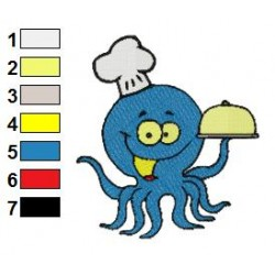 Octopus Chef Embroidery Design 03