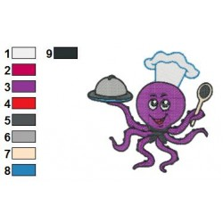 Octopus Chef Embroidery Design