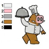 Pig Chef Holding a Dish Embroidery Design 02