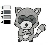 Raccoon Embroidery Design 04