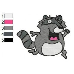 Raccoon Running Embroidery Design 02