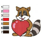 Racoon Holding Love Heart Embroidery Design