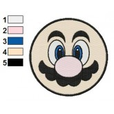 Super Mario Face Embroidery Design