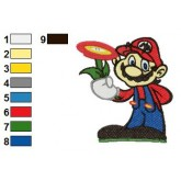 Super Mario Holding Flower Embroidery Design