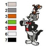Tom and Jerry jery up om embroidery design
